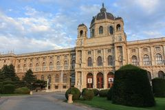 Museu de Kunsthistorisches de Art Vienna Austria no por do sol Fotos de Stock