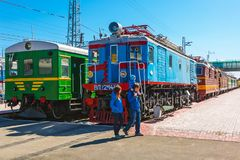 Museu de Novosibirsk do equipamento de estrada de ferro n A Akulinin novosibirsk imagens de stock royalty free