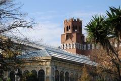 Museu do zoologia e estufa do parque de Ciutadella foto de stock