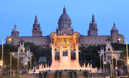 Museu Nacional d'Art de Catalunya at dusk, Barcelona, Spain. Museu Nacional d'Art de Catalunya and Magic Fountain, Barcelona, Spain, Europe royalty free stock photos