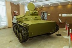 Museu retro da história militar da exibição do veículo blindado do combate, Ekaterinburg, Rússia, 05 03 2016 anos Fotos de Stock Royalty Free