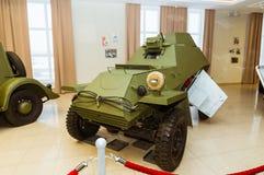 Museu retro da história militar da exibição do veículo blindado do combate, Ekaterinburg, Rússia, 05 03 2016 anos Fotografia de Stock