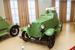 Museu retro da história militar da exibição do veículo blindado do combate, Ekaterinburg, Rússia, 05 03 2016 anos Foto de Stock