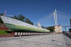 Museu submarino memorável S-56 em Vladivostok, Primorsky Krai dentro Imagens de Stock