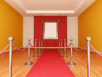 Museum. With red carpet and barrier rope- rendering Stock Photo