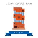 Museum Aan De Stroom in Antwerp Belgium. Flat cartoon style historic sight showplace attraction web site vector illustration. Worl Royalty Free Stock Photo