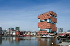 Museum aan de Stroom (MAS) i Antwerp Royaltyfria Bilder