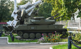 """Museum of air defense Forces. Anti-aircraft self-propelled system """"Shilka""""ZSU-23-4. Museum of air defense forces is located in the district Zarya of Stock Photo"""