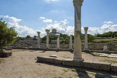 Cathedral and ancient columns in Chersonesos. Royalty Free Stock Photography