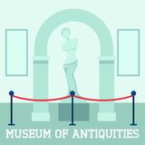 Museum Of Antiquities Poster. With sculpture Aphrodite flat  vector illustration Stock Images