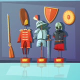 Museum Armor Illustration. Color cartoon illustration depicting museum exhibit about armor and historic military uniform vector illustration Stock Photo