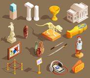Museum Artifacts Isometric Collection. Museum icon isometric set of  exhibit items and essential elements for attending museum tour vector illustration Royalty Free Stock Photography