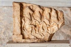 Museum Athens för marknadsplats för marmorBas lättnad Arkivfoton