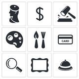 Museum, auction sale icon set Stock Photos