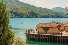 Museum auf wasser- Bucht der Knochen - Ohrid, Mazedonien Lizenzfreie Stockfotos