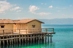 Museum auf wasser- Bucht der Knochen - Ohrid, Mazedonien Stockfotografie