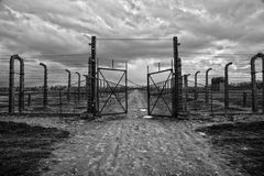 Museum Auschwitz - Birkenau. Holocaust Memorial Museum. Barbed wire and fance around a concentration camp. Royalty Free Stock Photos