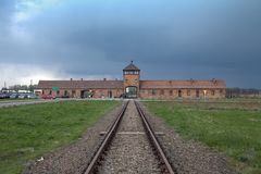 Museum Auschwitz - Birkenau. Holocaust Memorial Museum. Main entrance to the concentration camp. Royalty Free Stock Image