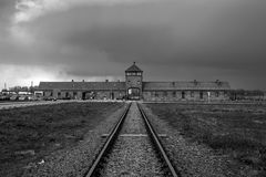 Museum Auschwitz - Birkenau. Holocaust Memorial Museum. Main entrance to the concentration camp. Royalty Free Stock Photo