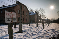 Museum Auschwitz - Birkenau. Warning sign high voltage. Barbed wire around a concentration camp. Stock Images