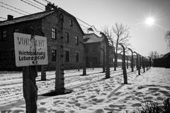 Museum Auschwitz - Birkenau. Warning sign high voltage. Barbed wire around a concentration camp. Royalty Free Stock Images