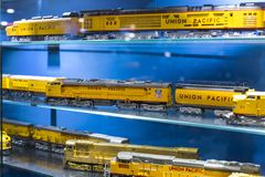 Museum av drevMadrid utläggning av utrustning för service för järnväg utrustning och historia av utveckling arkivfoto