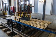 Museum av drevMadrid utläggning av utrustning för service för järnväg utrustning och historia av utveckling arkivbilder