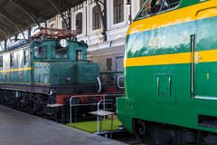 Museum av drevMadrid utläggning av utrustning för service för järnväg utrustning och historia av utveckling arkivbild