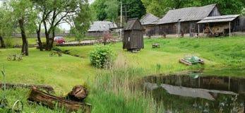 Museum av en retro jordbruks- utrustning Arkivfoton