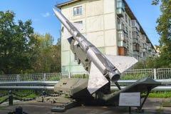 Museum av luftvärnstyrkor Luftvärnmissilsystem C-75 isolated rear view white Arkivbilder