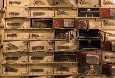 Museum av vaxdiagram i Barcelona på gataLas Ramblas Designen av röverin av bankförvaringsrummet i dagarna av ligan Arkivfoton