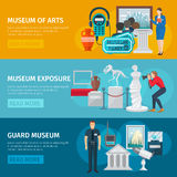 Museum Banner Set. Museum of arts horizontal banner flat set isolated vector illustration Stock Photos