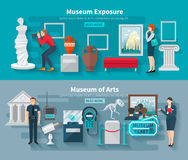 Museum Banner Set Royalty Free Stock Images