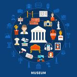 Museum Round Design Concept. Museum blue background with color icons in round design including paleontology archaeological historical artifacts and  art objects Stock Image
