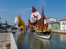 Museum of boats in the Porto Canale Leonardesco of Cesenatico, Emilia Romagna. Italy royalty free stock images