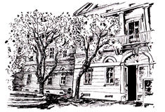 Museum building. Black and white illustration of museum building in Kikinda Serbia Royalty Free Stock Image