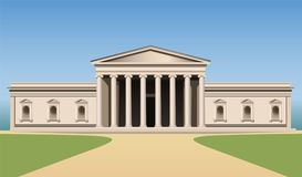 Museum building with columns vector. Museum building with columns, day, vector Royalty Free Stock Photos