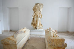 Museum of Carthage. Sculptures and sarcophages of the Priest and Priestess at the Museum of Carthage in Tunis, Tunisia Royalty Free Stock Photos