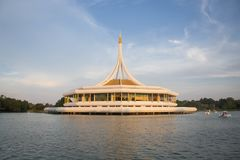 Museum at center park Rama 9. Bankok, Thailand. Warm light and cool fresh royalty free stock photo