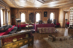 The Museum Chambers in Zaryadye. Chambers of the Romanov boyars. Room the boyar. Women's half Royalty Free Stock Photo