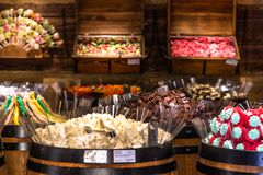 Museum of chocolate. Full of all kinds of sweets, located in Prague stock images