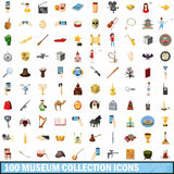 100 museum collection icons set, cartoon style. 100 museum collection icons set in cartoon style for any design vector illustration Royalty Free Stock Photo