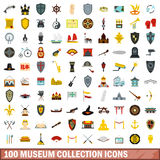 100 museum collection icons set, flat style Stock Images