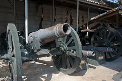 Museum with a collection of old guns. In Thailand Stock Photography
