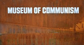 Museum of communism Exterior sign - Prague stock image