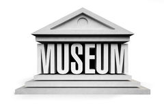 Museum. 3D Museum icon isolated on white background Royalty Free Stock Photos