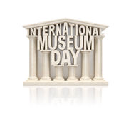 Museum day. International museum day (3d rendering creative info awareness concept).Text words as stone marble museum building in ancient classic style with Royalty Free Stock Images