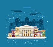 Museum in de stad in de winter stock illustratie