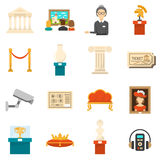 Museum Decorative Flat Color Icons Set. Of exhibits audio guide headphones and ticket  vector illustration Stock Images