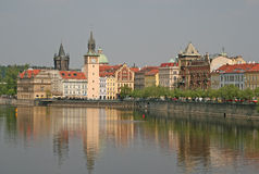 Museum dedicated to the great Czech composer Bedrich Smetana and Old Town Water Tower Stock Photos